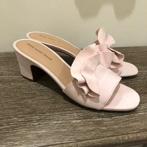 Who What Wear Pink Ruffle Slides